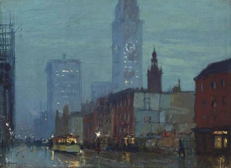 Oil On Board City Rain Paintings