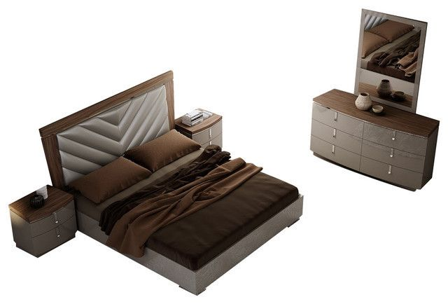 Napa Modern 4 Pcs King Bedroom Set SKU18214 Description : The Napa Modern Bedroom set was crafted with sophistication & elegance in mind. Rich textures on the American Walnut Veneer are contrasted by light grey lacquer for a sharp look. The case goods not only provide adequate spacing for storage, but also feature soft close drawers that delivery a superb finish that can only be described as the eloquent. Chest Optional. Features : Napa Modern Bedroom Set Include(King Bed + Nightstand…