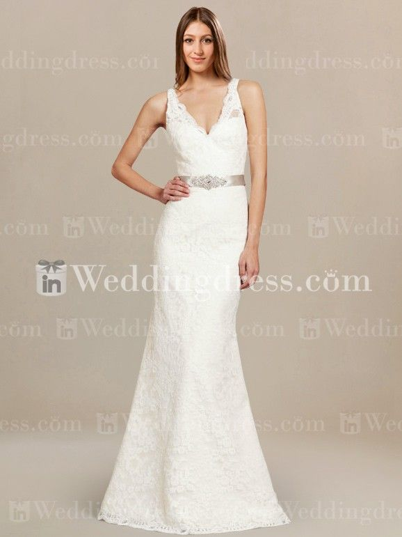 Simple elegance of this Lace bridal dress starts with the V-neckline and deep V-back as well as the scalloped trim.