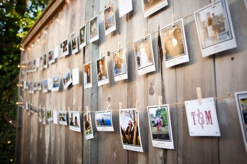 Pictures hanging on a string
