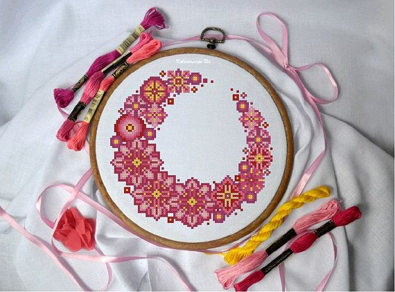 A wreath of pink flowers. Cross Stitch Pattern PDF  Instant