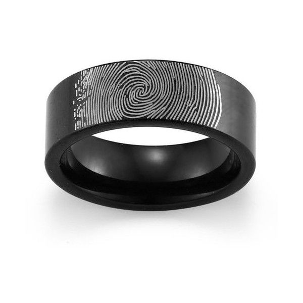 Caperci Mens 8mm Black Tungsten Fingerprint Wedding Band Ring Size 27 Liked On Polyvore