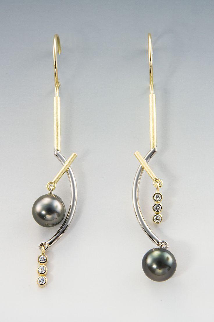 Janis Kerman  18kt, Diamonds, Cultured Tahitian Pearls  Cheap Womens  Costume Jewelry,