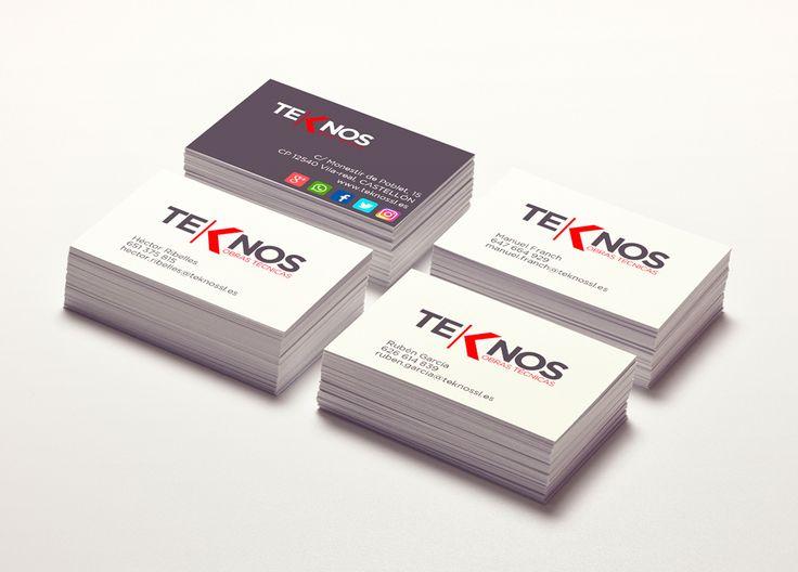 Diseño de Logotipo y diseño e impresión de tarjetas de visita para la empresa Teknos, Obras Técnicas. Medidas 85×55 mm sobre papel couché de300 gr.