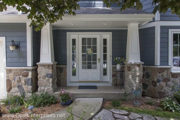 Decorative Stone Siding For Homes : Inviting elegant entry on blue house with stone accents