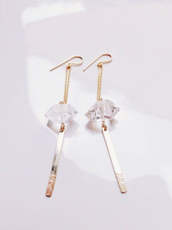 Diamond Earrings Gold Earrings Long Gold Earrings by SummerBucket