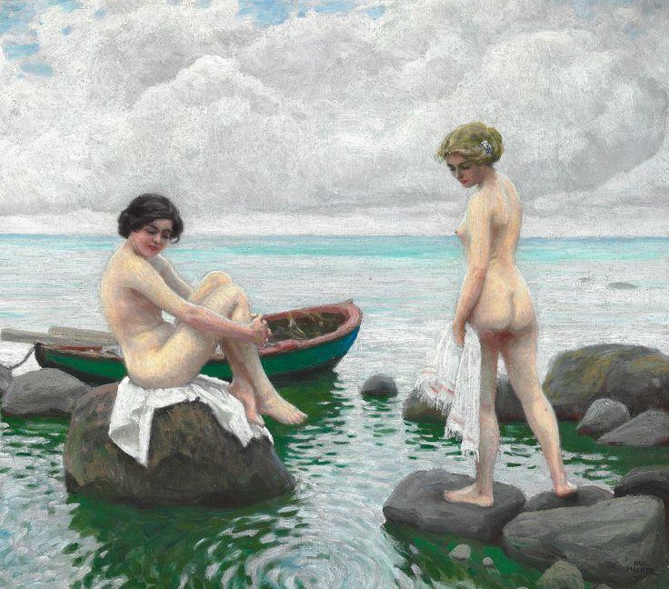 Paul Fischer: To badenymfer på stranden. Sign. Paul Fischer. Olie på lærred. 50 x 55.