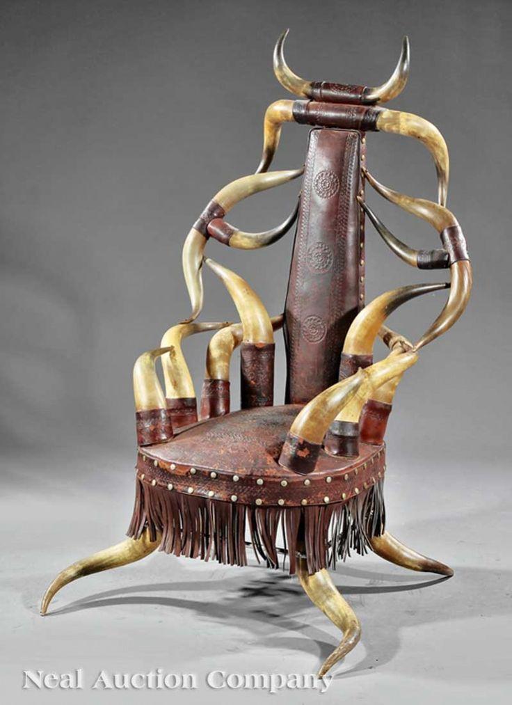 C1890 Aesthetic Texas Longhorn Arm Chair, Poss W Freidrich, San Antonio Or H