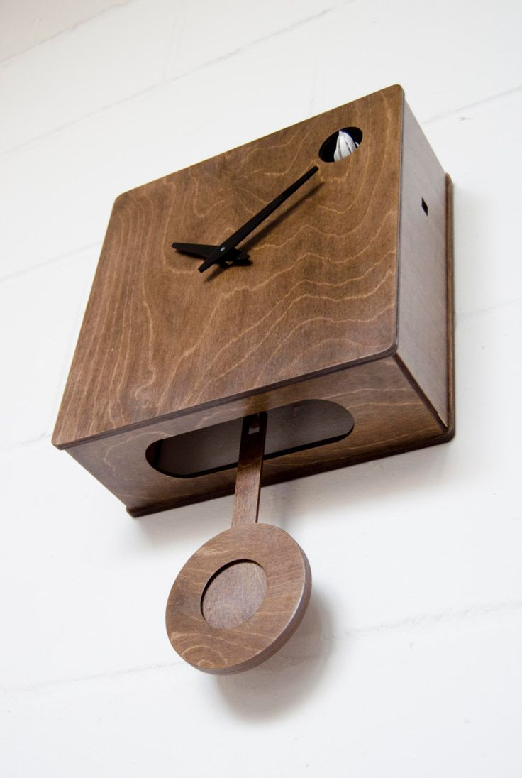 Quercus - Modern Cuckoo Clock  in Walnut finish by pedromealha on Etsy https://www.etsy.com/uk/listing/167973915/quercus-modern-cuckoo-clock-in-walnut