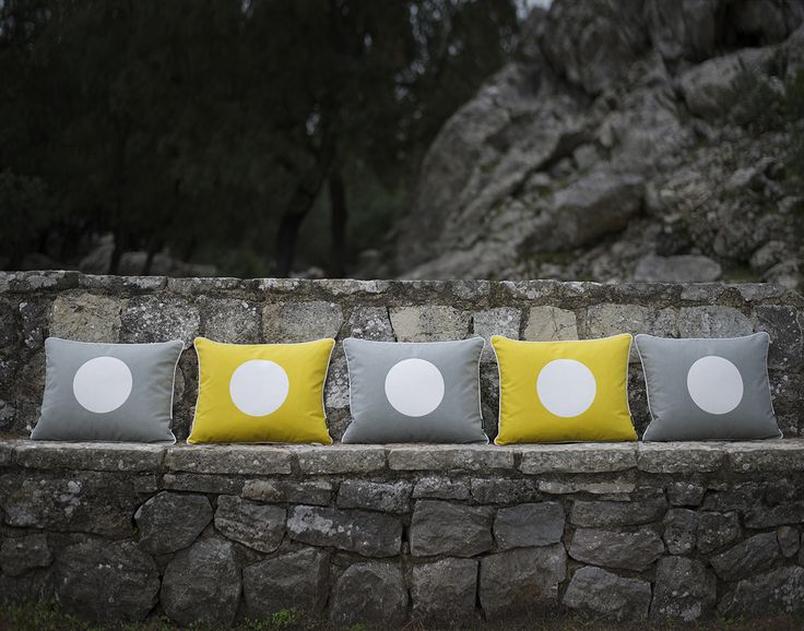 VERA cushions in lemon and warm grey, Pappelina