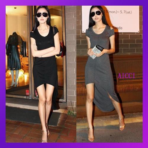 High-Low Thigh Tail Hem Maxi Dress $9