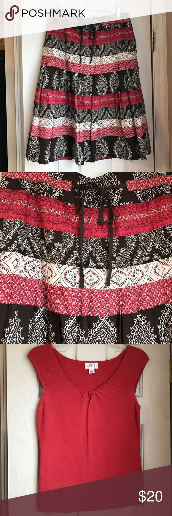 """Coordinating skirt and top Darling printed """"batik"""" style skirt (brown, cream, and geranium) with coordinating geranium colored sweater.  Skirt is size 4 and sweater is size small.  Both by LOFT LOFT Skirts A-Line or Full"""