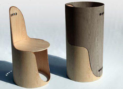 Euga design twin chairs 二つを組み合わせることで円筒状に収納出来る椅子。重ねた姿をみたら、とても椅子だとは思わない。