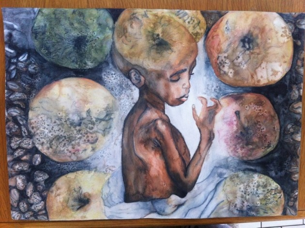 Watercolour sprinkled with salt, depicting decaying fruit and starving / malnourished children. Beautiful.