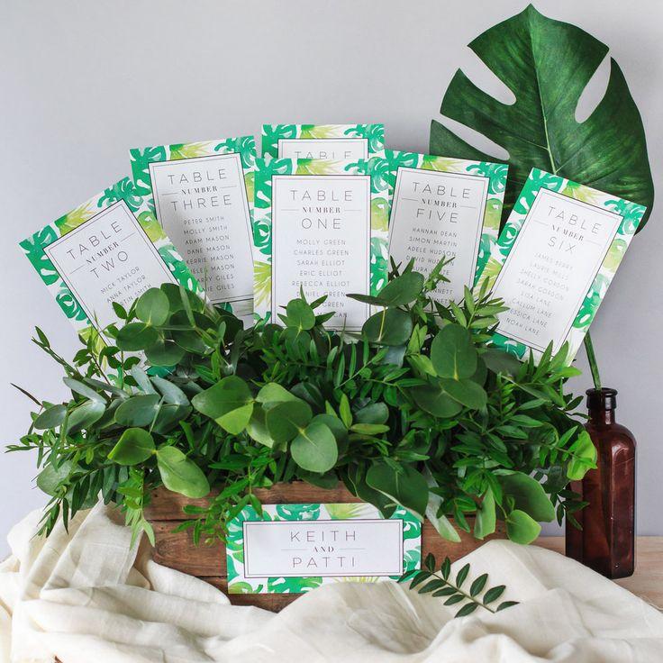 Modern Table Plan, Alternative Table Planner, Seating Planner, Seating Plan Chart, Table Plan Cards, Botaniclal, Greenery, Hand Painted Watercolour, Jardin Botanique2.jpg
