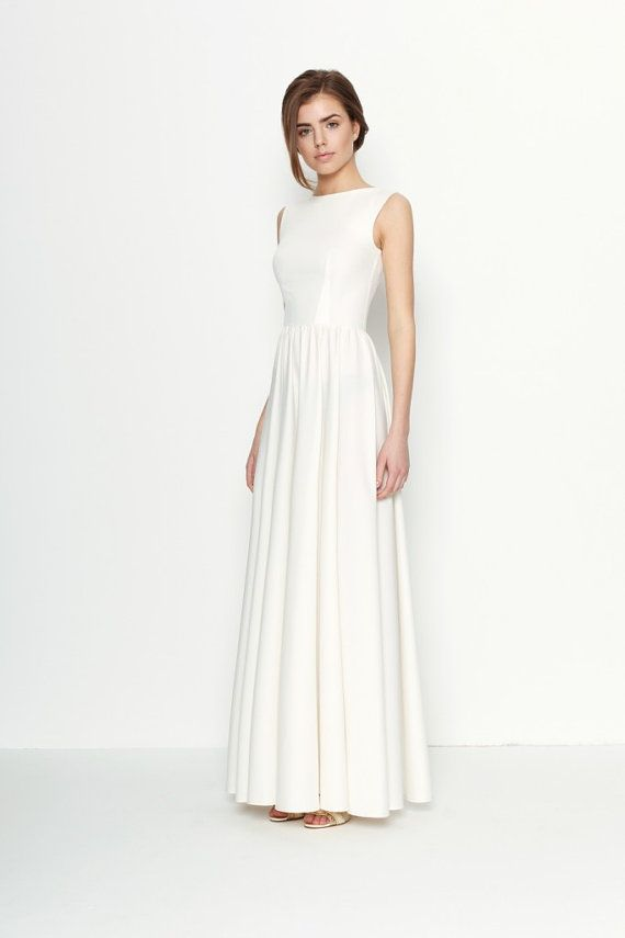 Dress open maxi blanco espalda vestido de fiesta occasion for Simple cotton wedding dress