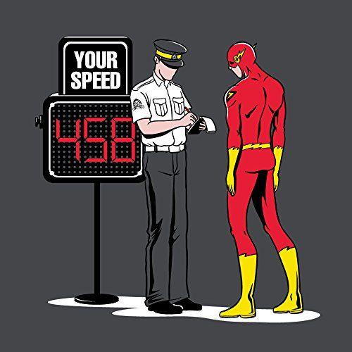 """Speed Trap"" Funny Parody Super Hero Getting Speeding Ticket 18x18 - Vinyl Print Poster Hat Shark http://www.amazon.com/dp/B00LV5GCKA/ref=cm_sw_r_pi_dp_oefjvb017ZBE8"