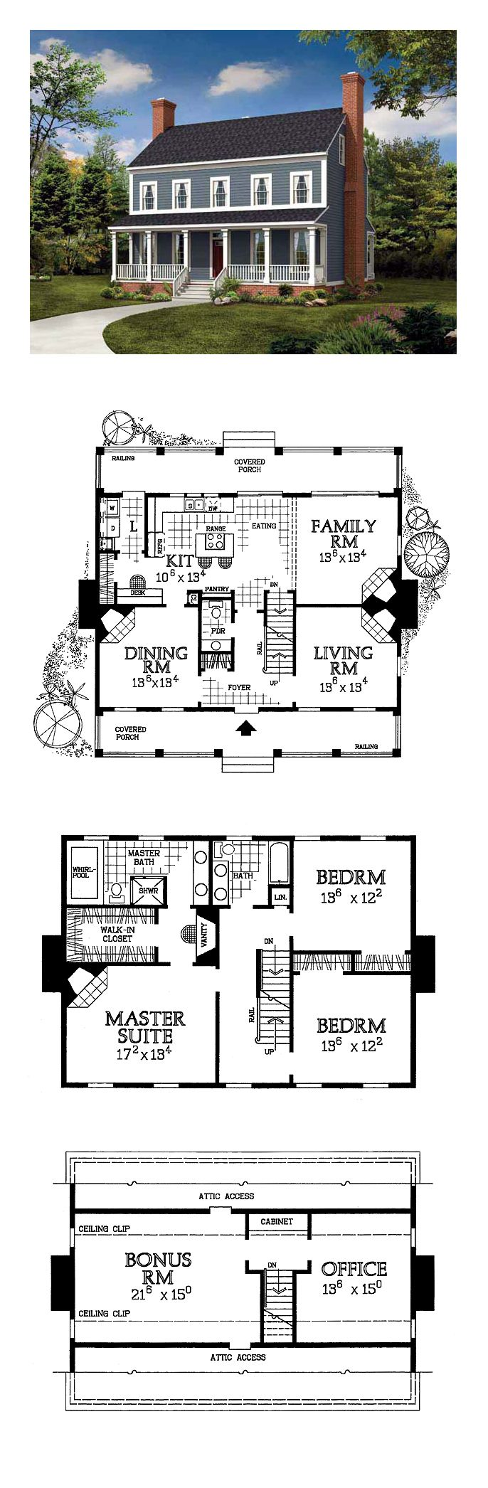 Colonial House Plan 95219 | Total Living Area: 2203 sq. ft., 3 bedrooms and 2.5 bathrooms. #colonialhome