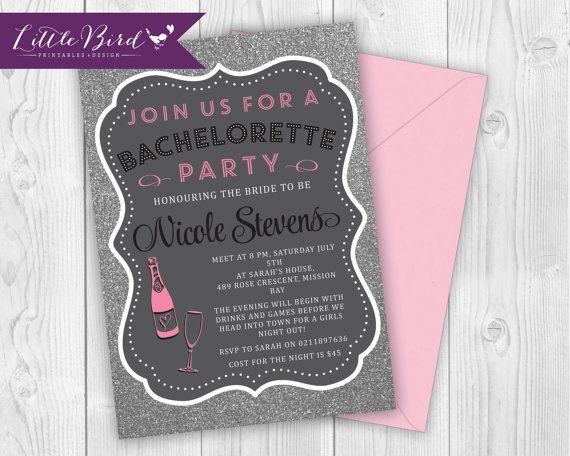 Bachelorette girls night out printable invitation! Wine and glitter woooo!
