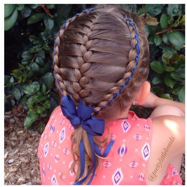 A French braid today framed with two 5 strand ribbon braids.