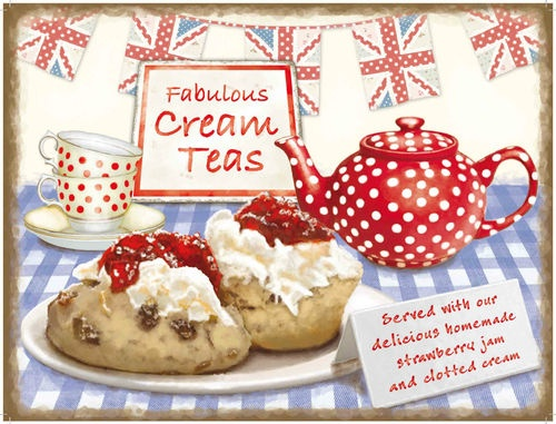 Fabulous cream teas http://www.ebay.co.uk/itm/New-FABULOUS-CREAM-TEAS-vintage-enamel-style-tin-metal-advertising-sign-15x20cm-/190795815946?pt=UK_Home_HomeDecor_Accessories=item2c6c511c0a