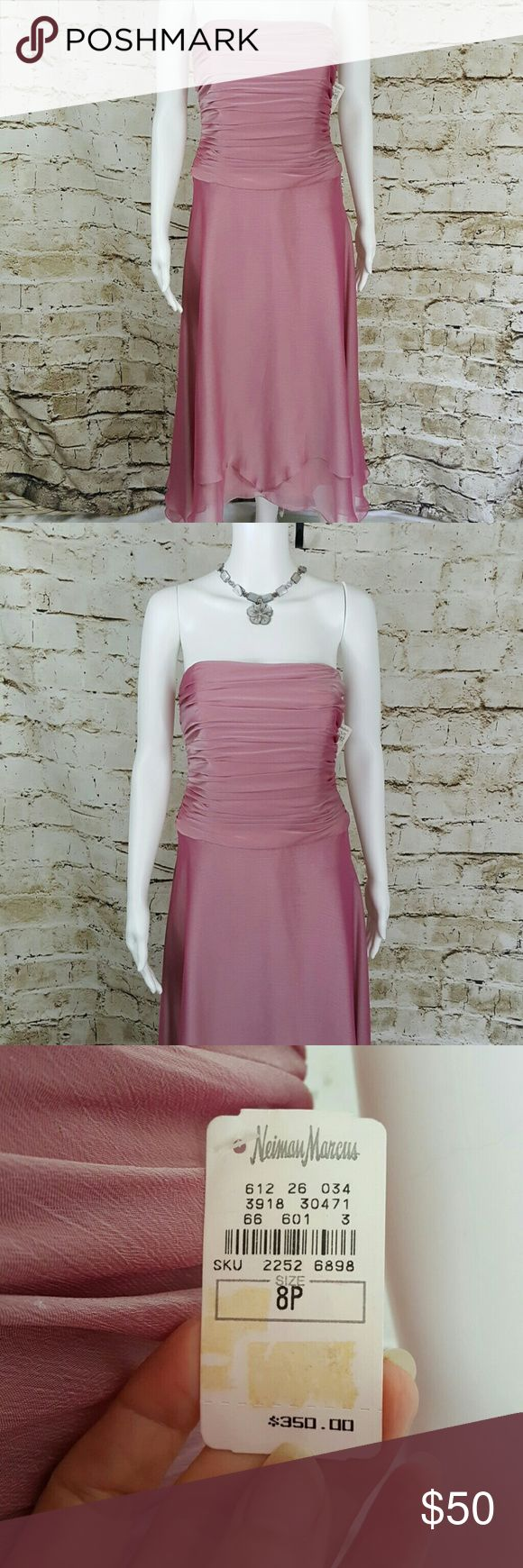 NWT $350 Kay Unger Chiffon dress Gorgeous fully lined double tiered dress this dress is so graceful, beautiful rose color. Kay Unger Dresses Midi