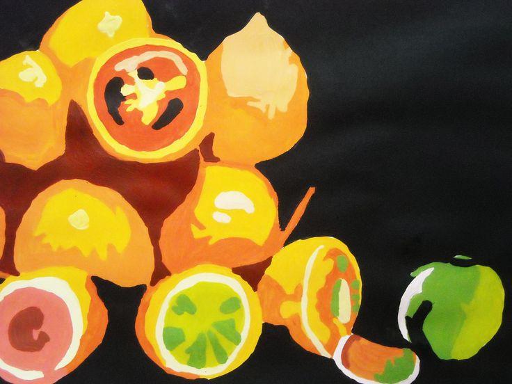 zátiší s ovocem obraz je namalován akrylovými barvami na čtvrtku ve velikosti A3