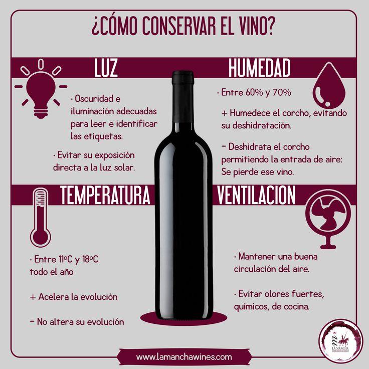Cómo conservar correctamente un vino para disfrutar de su sabor y sus aromas plenamente. #vino #wine #conservar #información #infografía #uvas