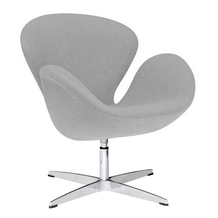 Fine Mod Imports FMI1140 Lightgray Swan Chair Fabric, Light Gray