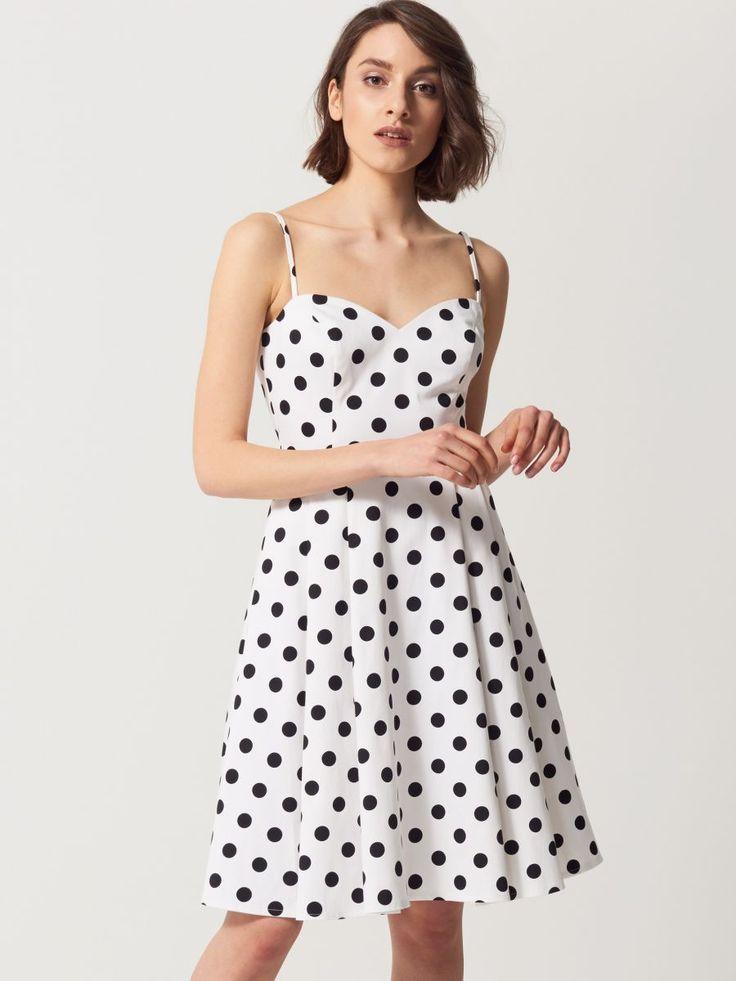 Ołówkowa sukienka w grochy, MOHITO, SH595-MLC