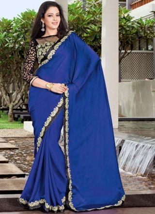 Fentastic Bule Satin Chiffon Designer Party Wear Saree http://www.angelnx.com/Sarees