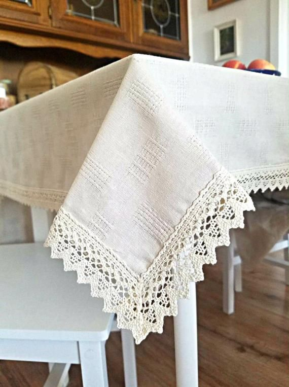 Linen Tablecloth With Cotton Lace Table Topper Linens Overlay Chic Rustic Thanksgiving Runner