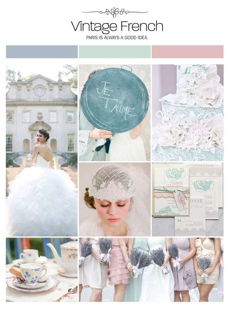 Vintage French wedding inspiration board, color palette, mood board via Weddings Illustrated