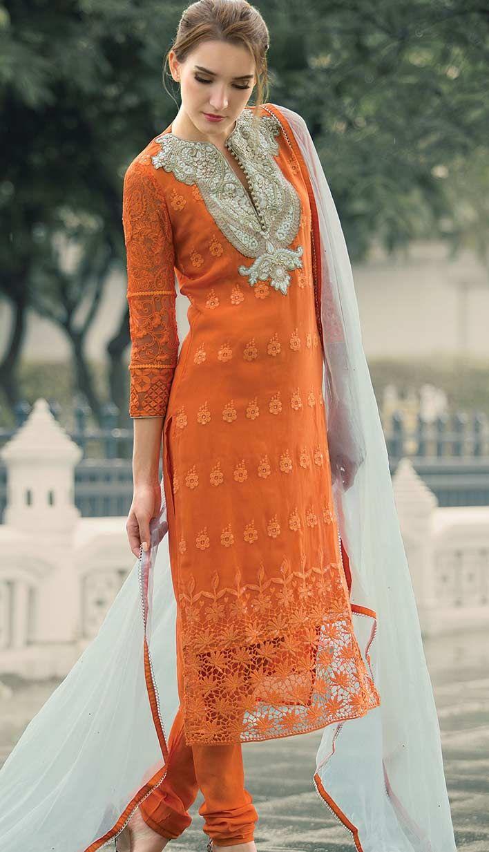 Get this latest beautiful chiffon #PankistaniSuit .. http://bit.ly/1wDpDaQ Price: INR 5722, Color: Orange