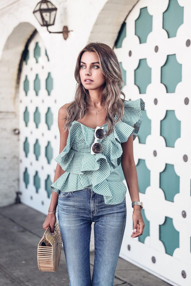 Asymmetric one shoulder green gingham top
