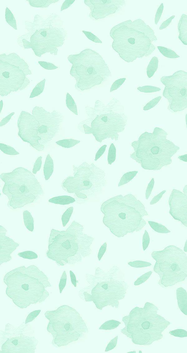Menta iPhone del papel pintado floral en LaurenConrad.com