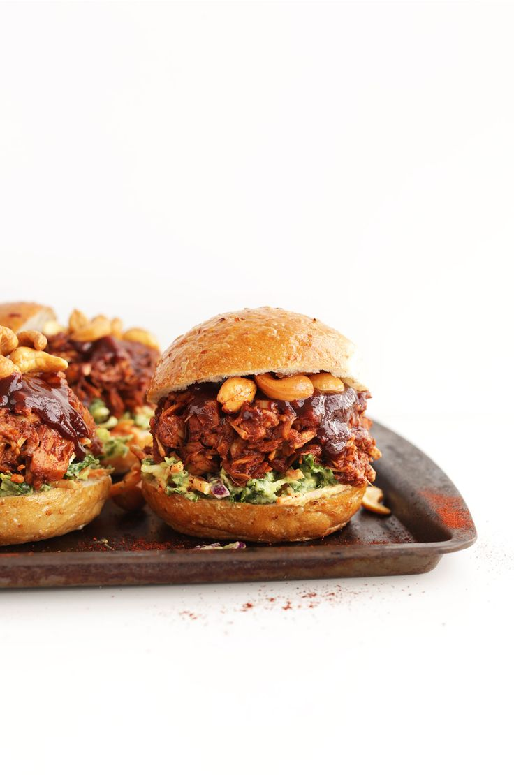 AMAZING BBQ Jackfruit Sandwiches with Avocado Slaw and Roasted Cashews! Big flavor in 30 minutes! #vegan #glutenfree