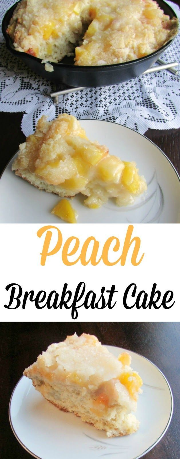 This Peach Breakfast Cake is a perfect start to a summer day.  It is a new take on my great-great-grandma's apple cake and it is delicious!