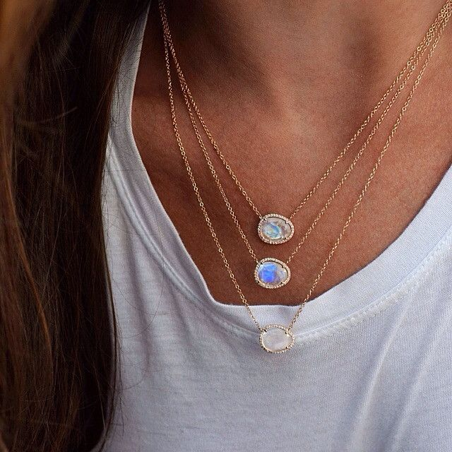 14kt gold and diamond free form moonstone necklace – Luna Skye by Samantha Conn