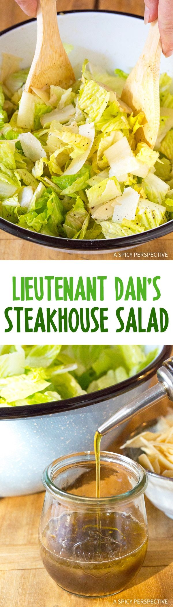 Lieutenant Dan's Steakhouse Salad - A perky 6-ingredient salad recipe that tastes like the table-side salads prepared at a fancy steak house! via @spicyperspectiv