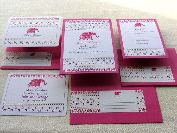 Indian Save the Date and Invitation Set - Elephant Decorated Jaipur Wedding Stationery Set. $10.00, via Etsy.