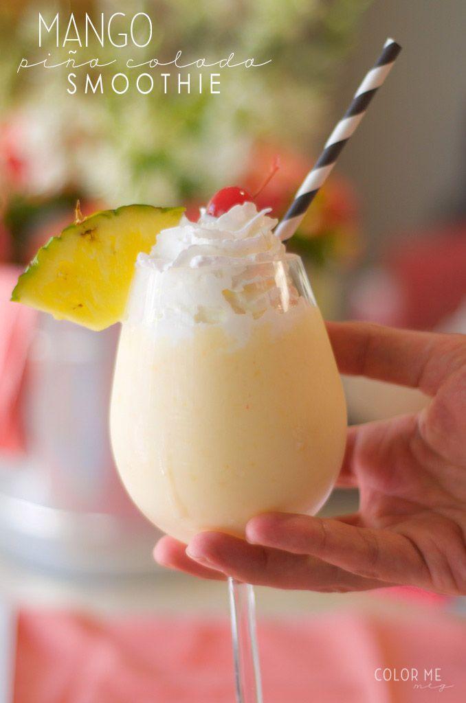 Non-Alcoholic mango pina colada smoothie. a light and delicious cinco de mayo drink!