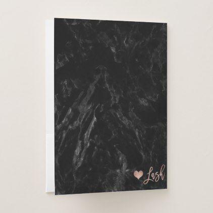 Elegant lashes Logo faux rose gold black marble 2 Pocket Folder - rose gold style stylish diy idea custom