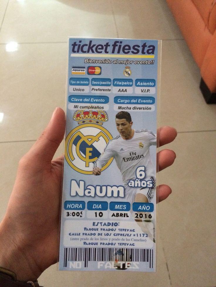 Invitacion fiesta fútbol real Madrid