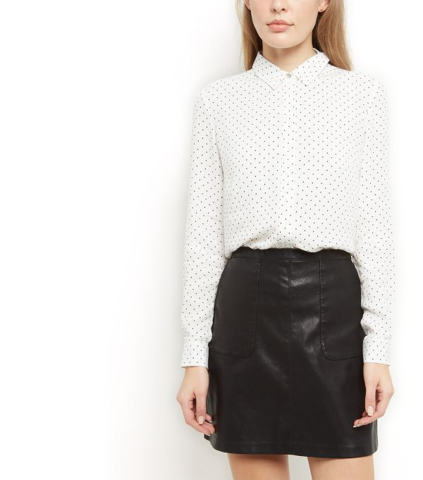 White Polka Dot Print Longline Shirt     | New Look