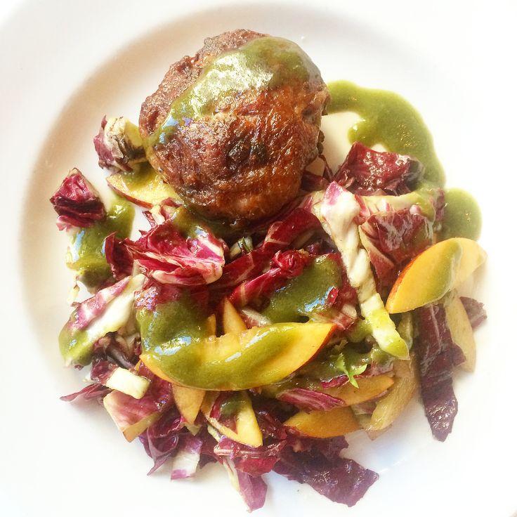 Crepinette of Pork Belly, radicchio and nectarine salad, mint-basil vinaigrette. Off of the seasonal Hogtoberfest menu at South City Kitchen Vinings October 23-November 1, 2014. Atlanta, GA.