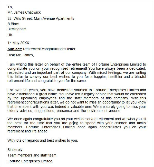 Image result for letter of congratulations on retirement
