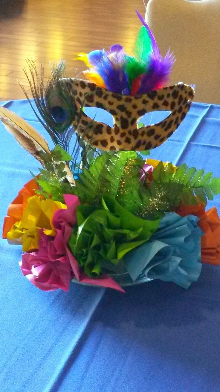 Do we need table decorations for tables? Make paper flowers, the have a mask or Bird out the top to reflect group?