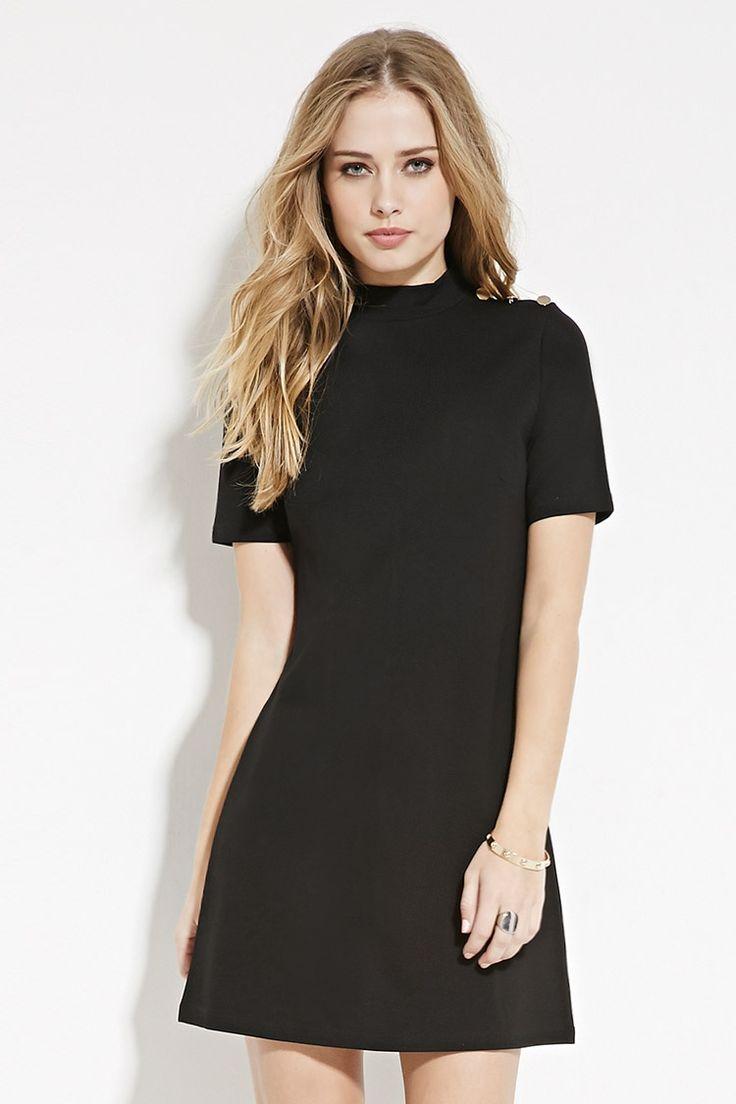 Button-Shoulder Shift Dress