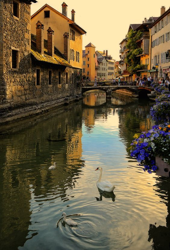 Dusk in Annecy, France.